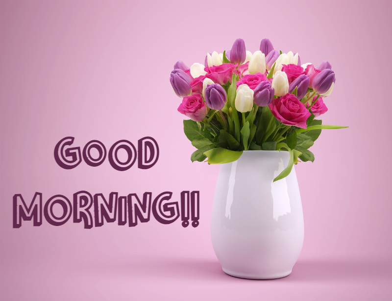 good morning with bouquet